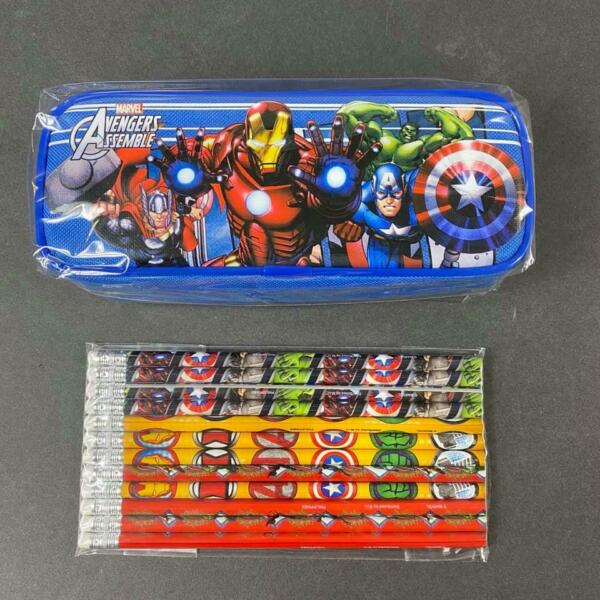 Marvel Avengers Blue Pencil Pouch with 12x Pencils School Stationary for boys $9.99