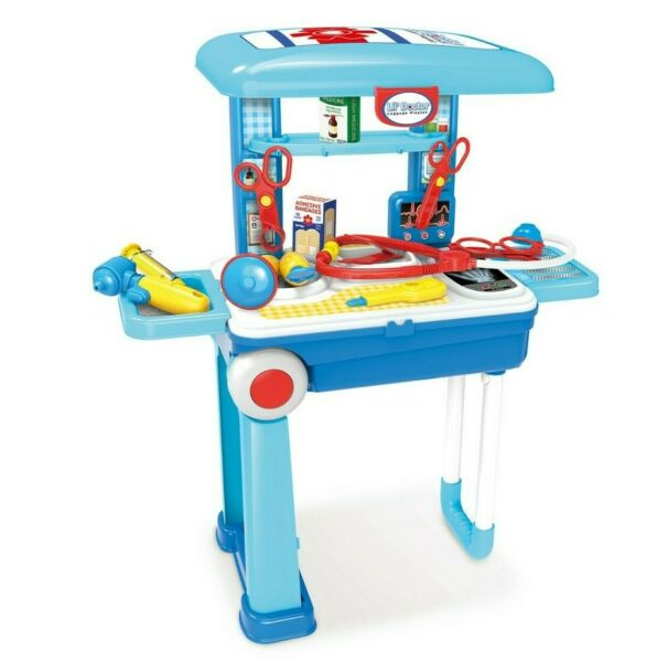 Lil Doctor Blue 23 Piece Set On The Go Mobile Suitcase Playset New