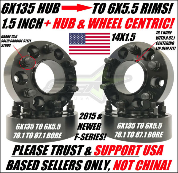 6x135 To 6x5.5 Wheel Adapters Use Chevy GMC Rims on 2015+ Ford Trucks Hubcentric
