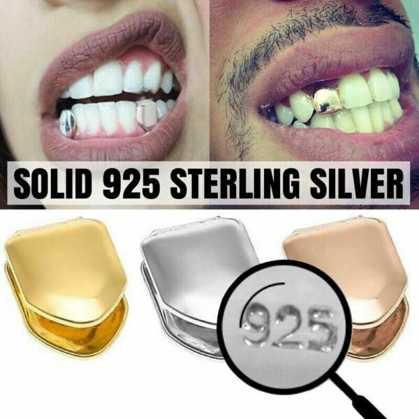Solid 925 Sterling Silver Single Tooth Grillz Real Custom Hip Hop Grills Caps