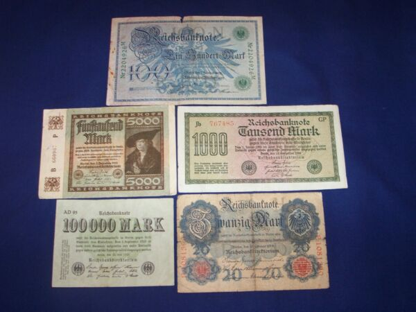 Lot of 5 Bank Notes from Germany Issued Early 1900's L2