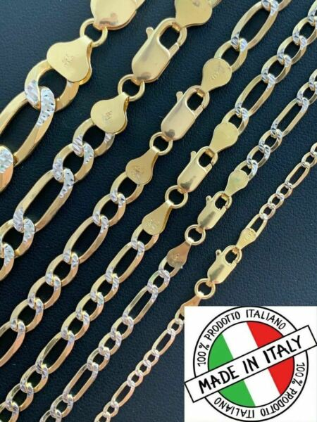 14k Gold amp; Solid 925 Sterling Silver Figaro Link Chain Two Tone Diamond Cut $110.49