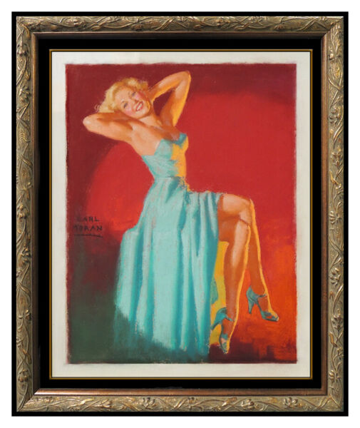 Earl Moran Original Pastel Painting On Board Marilyn Monroe Signed Pin Up Art