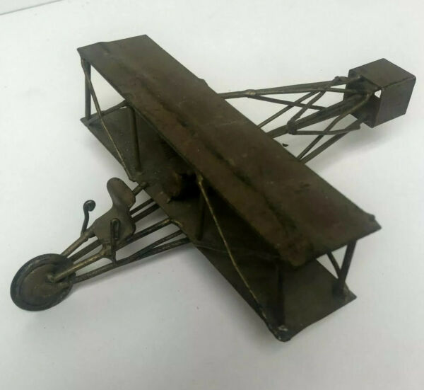 Handmade bi-Plane One of a Kind Sculpture Made from Random Pieces of Metal