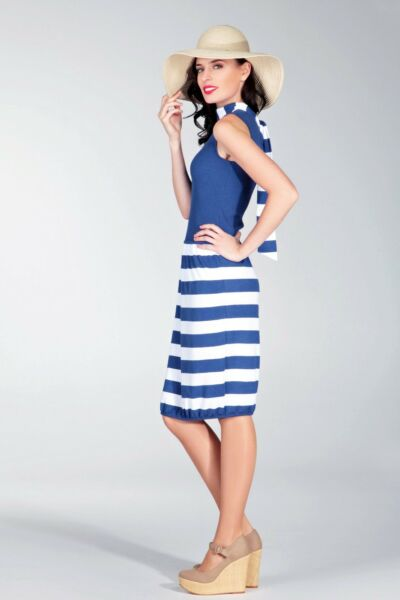 DRESS PARTY SEXY KNITTED STRIPED JERSEY LUX NATURAL SUMMER MADE IN EUROPE S M L