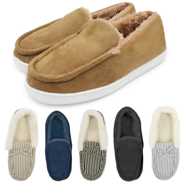 Womens Soft Fur Lined Suede Winter Moccasin Slippers Cozy Slip On House Shoes $9.99