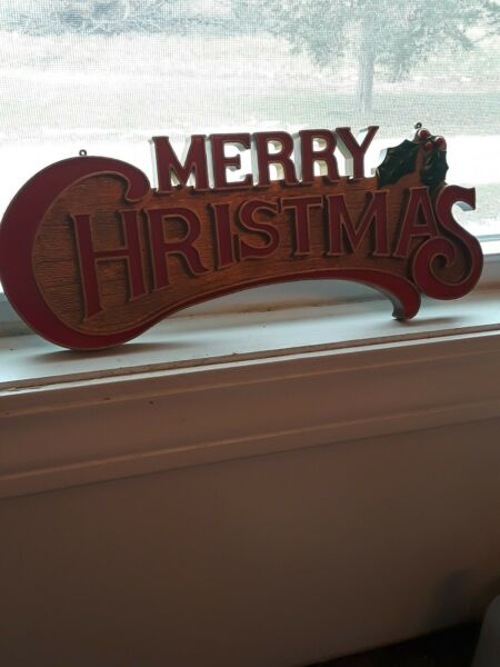 VTG MERRY CHRISTMAS PLASTIC SIGN WITH HOLLY MID CENTURY 15