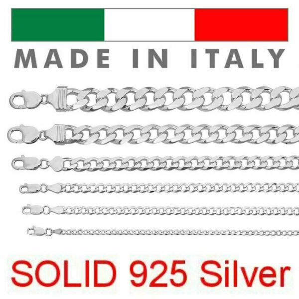 Real Solid 925 Sterling Silver Cuban Chain Men#x27;s Women#x27;s 2 16mm Italy Necklace $54.51