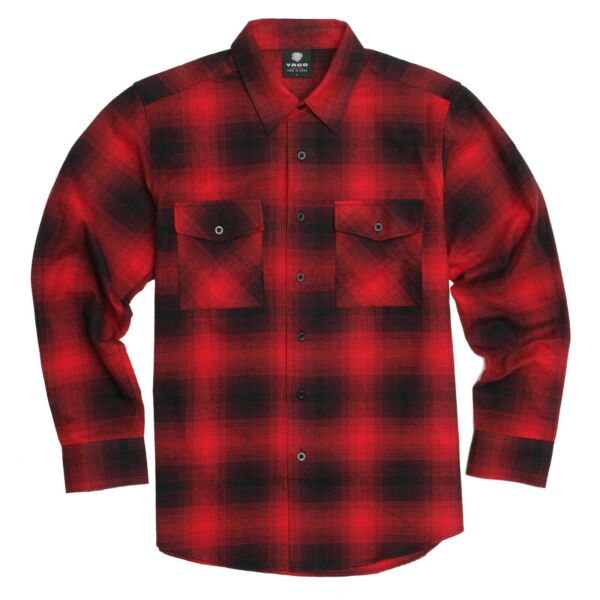 YAGO Men#x27;s Casual Plaid Flannel Long Sleeve Button Down Shirt Red 7F S 5XL