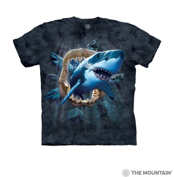The Mountain Kids 100% Cotton Blue T Shirt Shark Attack Youth Sizes S M L XL NWT $11.99