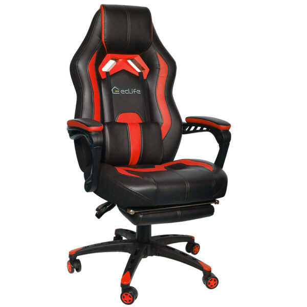 Gaming Chair Racing Computer Office Chair PU High Back Footrest Ergonomic Red