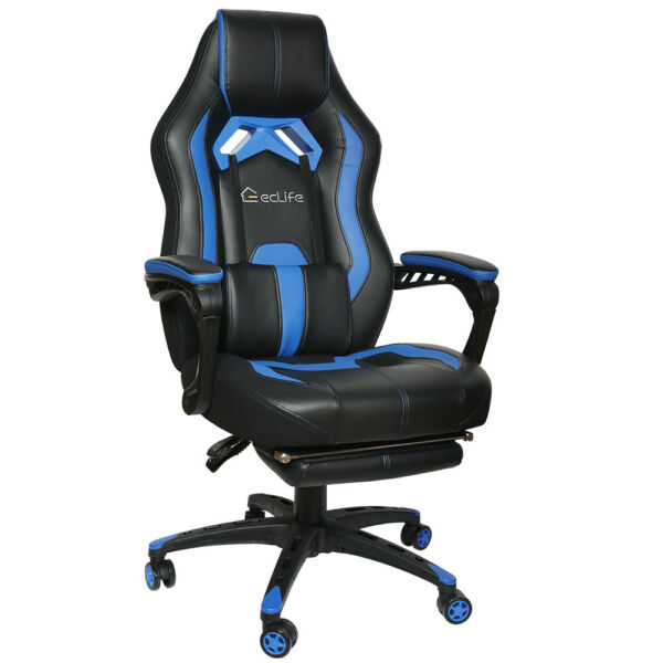 Gaming Chair Racing Computer Office Chair PU High Back Footrest Ergonomic Blue