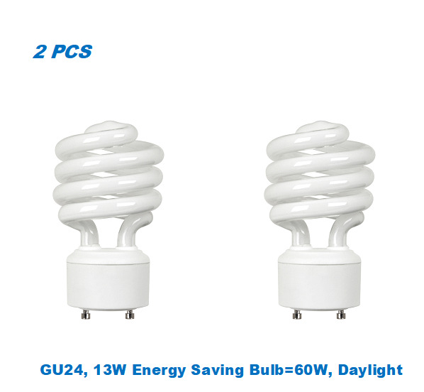 2 Bulbs Twister GU2413W Energy Saving Bulb= 60W Day Light 5000K UL Listed