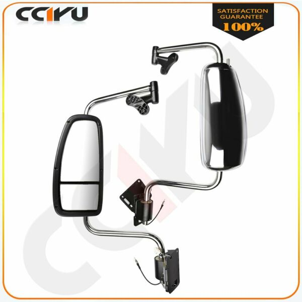 CCIYU MIRRORS Pair Chrome Complete For 97-10 International 9200 9400I 9900I 5900