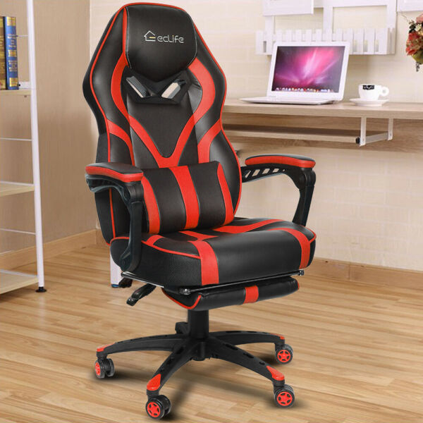 Ergonomic Office Computer Gaming Chair Racing Chair PU High Back Footrest Red