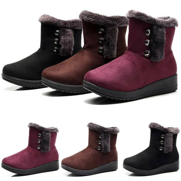Womens Ladies Winter Snow Boots Fur Lined Wide Fit Comfy Ankle Buckle Shoes Size