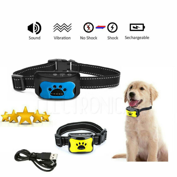 Rechargeable Dog Collar No Bark Anti-Bark Stop Barking Small Medium Dog Pet USA