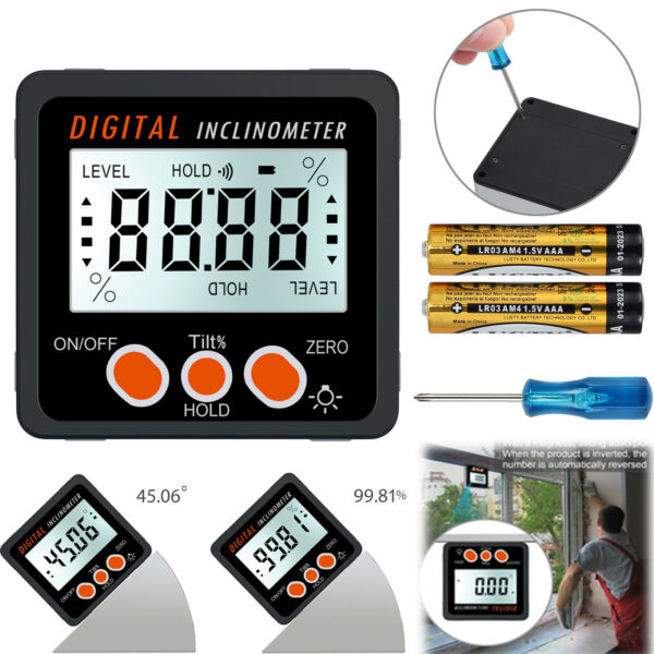 4* 90° LCD Digital Level Box Angle Finder Inclinometer Protractor Gauge Magnet