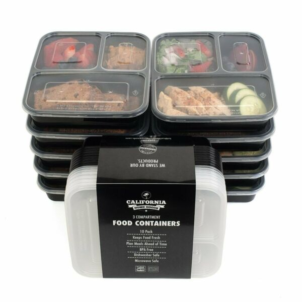 10 Meal Prep Food Storage Containers 3 Compartment Reusable Bento Lunch Box