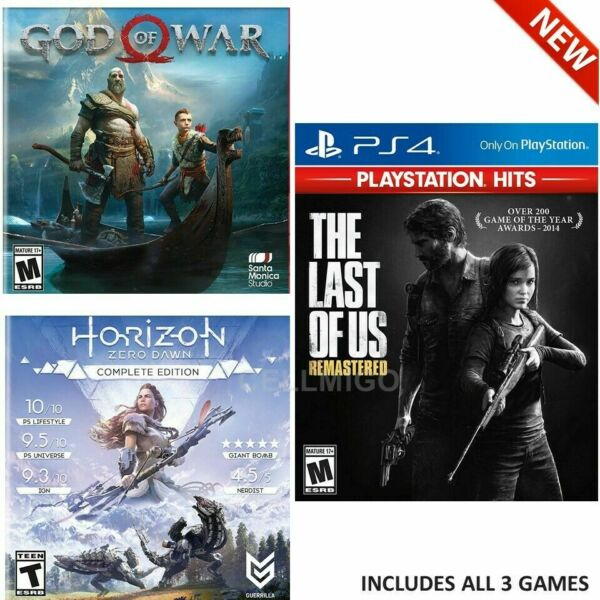 PS4 Only On Games Bundle: Last Of Us Remastered God of War Horizon Zero Dawn