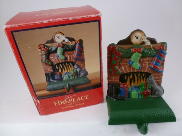 VINTAGE HOLD EVERYTHING quot;FIREPLACEquot; CAST IRON CHRISTMAS STOCKING HANGER NIB NOS
