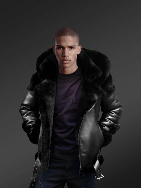 Heavy Duty Super Warm & Comfortable Double Face Sheepskin Jacket with Real Fur