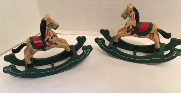 Vintage Carved Wooden Rocking Horse Ornaments Christmas Decoration Hand Painted