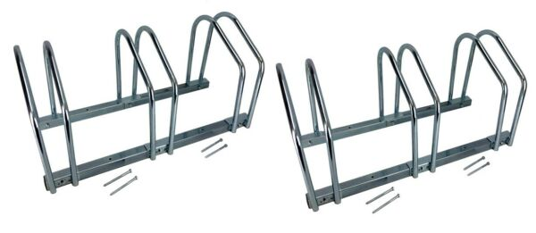 Set of TWO 3 Bike Floor Bike Stand Silver Bicycle Rack Stand Park Mounted Holder $55.99