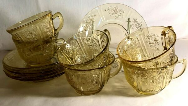 6 Federal Amber Sharon Cups And Saucers