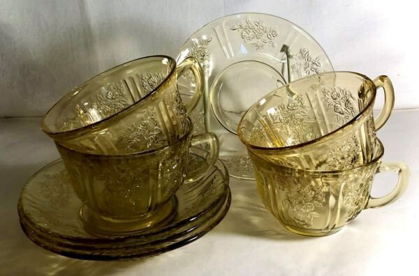4 Federal Amber Sharon Cups And Saucers