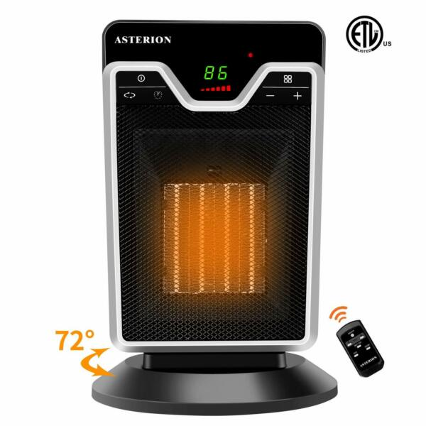 Space Heater Indoor Portable Office Heater Adjustable Thermostat 1500W Remote