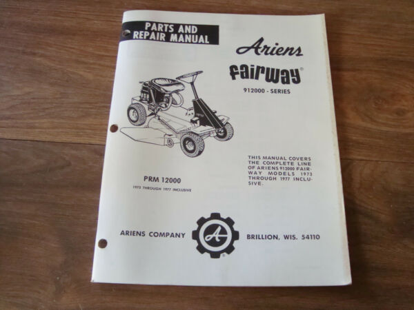 Ariens Parts amp; Repair Manual 912000 Series Fairway PWI