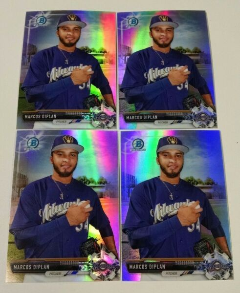 4 2017 Bowman Chrome Refractor Draft MARCOS DIPLAN card lot MILWAUKEE BREWERS