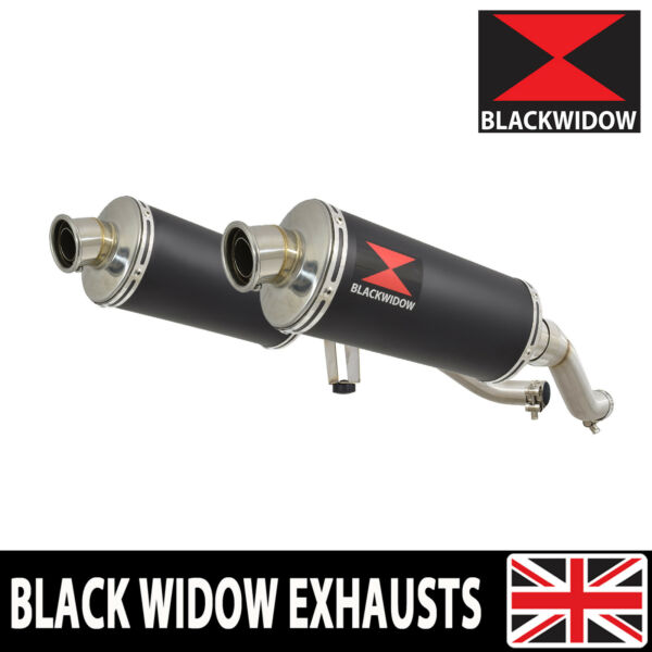 GW 250 Inazuma 2012 2017 Twin Exhaust Silencer Oval Black Stainless 300BS