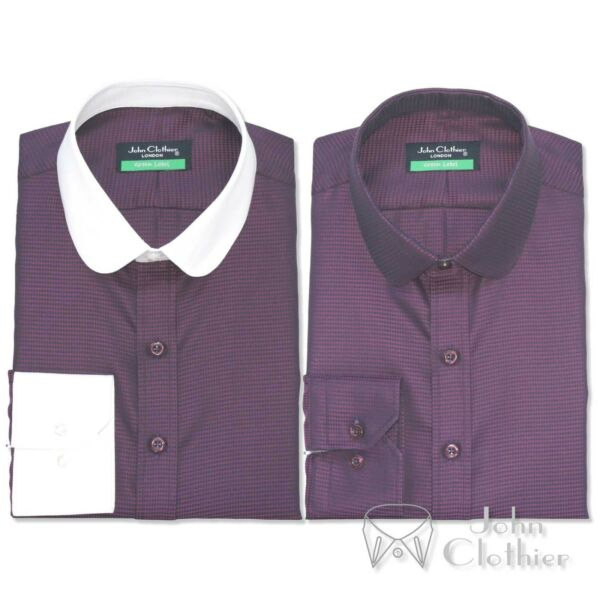 Penny collar 100% Cotton Mens shirt Maroon Oxford White Peaky Blinders Gents