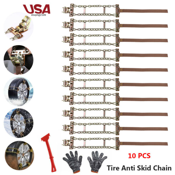 10Pcs Snow Anti-skid Steel Chains Car Skid Belt Mud Wheel Tire Tyre Chain Winter