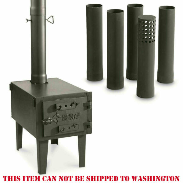 Outdoor Wood Stove Cast Iron Portable Camping with Pipe For Vented Tent Cooking $143.96