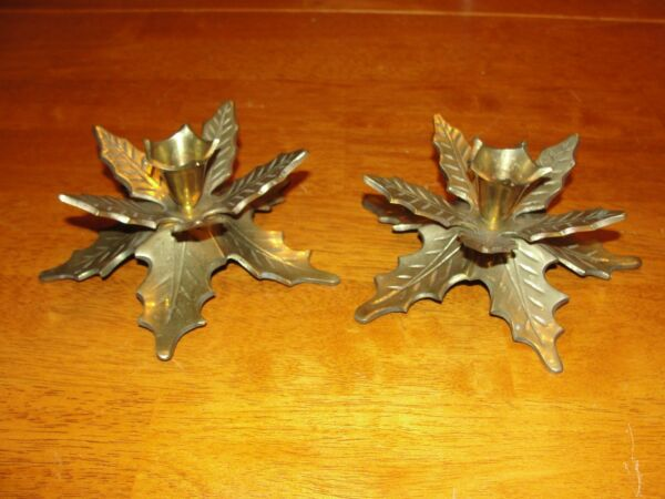 Vintage Pair Lot of 2 Solid Brass Candle Holders - Christmas Holly Leaves - EUC