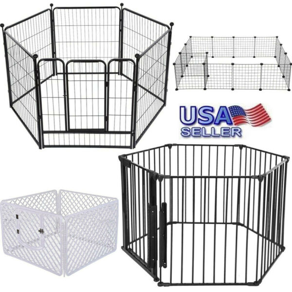 Heavy Duty Metal 461216 Panels Cage Crate Pet Dog Cat Fence Exercise Playpen