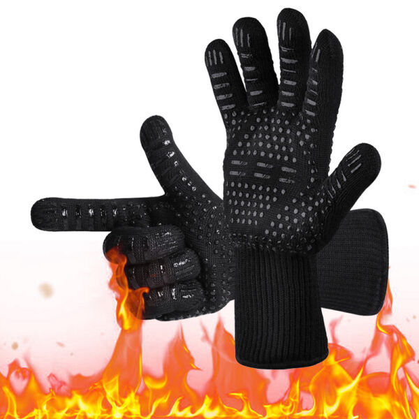 BBQ Grill Gloves Barbecue Silicone Heat Resistant Oven Mitts Kitchen Baking