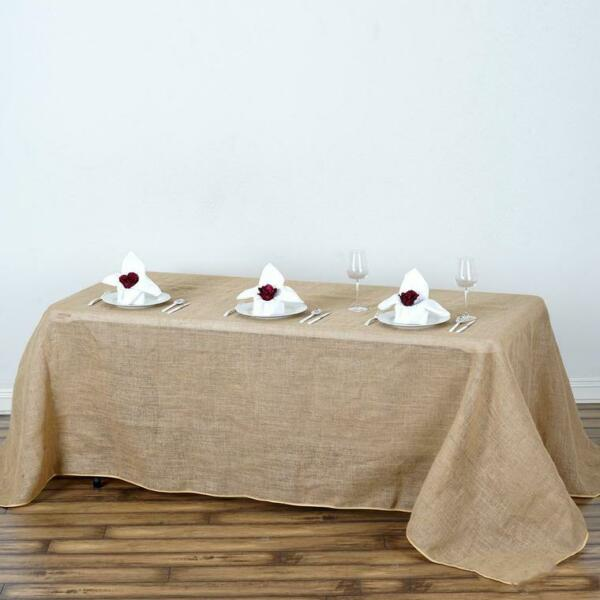 90x132-Inch RECTANGULAR Natural Brown Burlap Tablecloths Catering Home Party