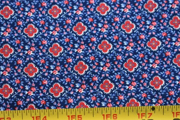 By 12 Yd Vintage Red Calico on Blues Quilt Cotton Cranston P259