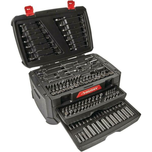 270-Piece Husky Mechanics Tool Set w Case SAE Metric Sockets Wrenches Repair Kit