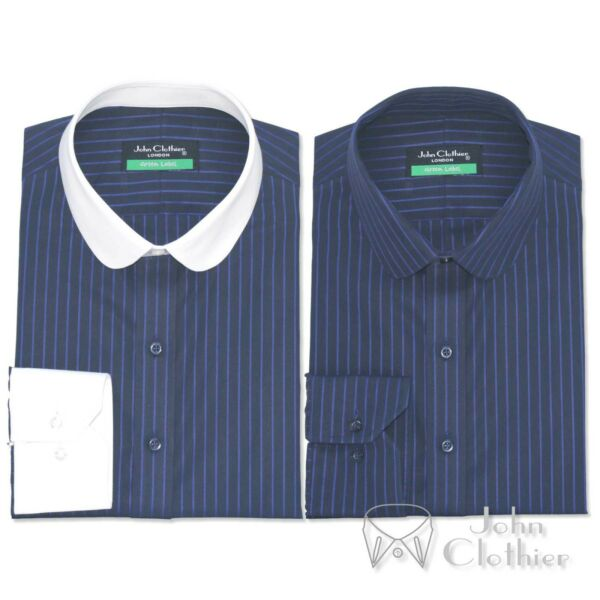 Penny collar Cotton Mens shirt Navy Blue stripes Banker Club Round Peaky Blinder