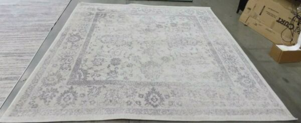 IVORY SILVER 9#x27; X 9#x27; Square Stained Rug Reduced Price 1172583054 ADR109C 9SQ