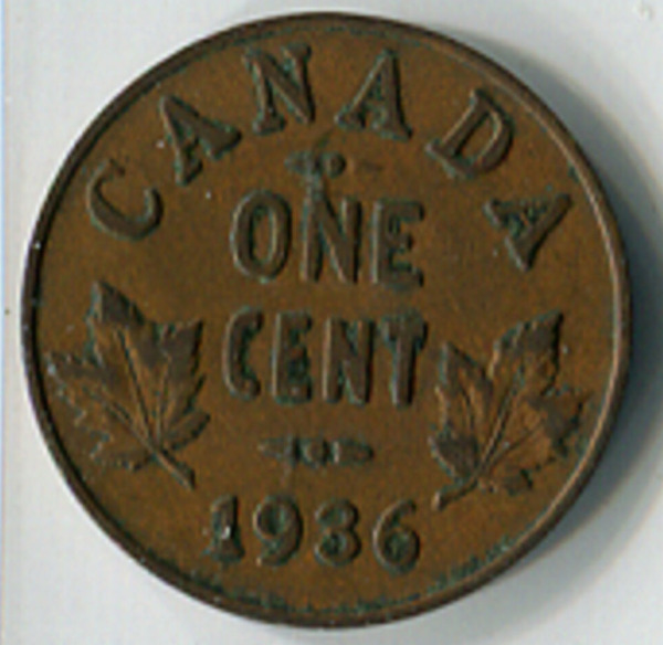 CANADA 1936 1 CENT COPPER COIN 'UNIQUE' DOUBLE HIT AND HE MISSES THE RIGHT ARROW