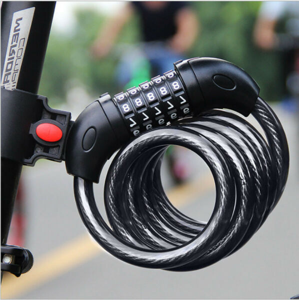 5 Digit Combination Password Bike Lock Cable Bicycle Chain Lock Black Color $7.19