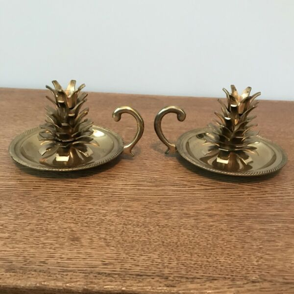2 Vintage Solid Brass Pine Cone Candle Holders Candlesticks India Christmas