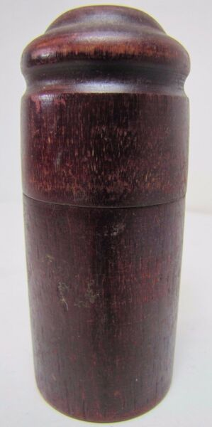 Antique Treen Container Jar Box old dark red burgundy finish lid turned wood