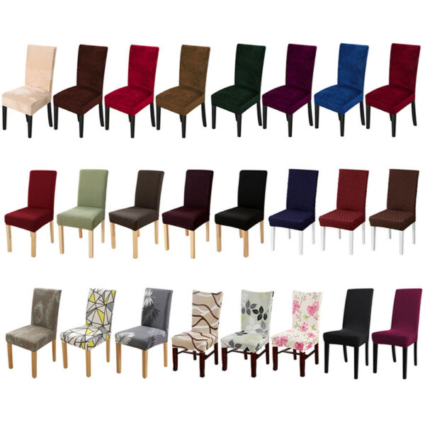 1 4 6pcs Stretch Spandex Dining Chair Seat Covers Jacquard Velvet Printed Solid $21.99